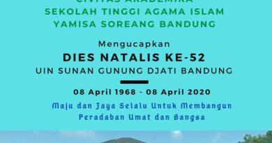 Civitas Akademika STAI Yamisa Soreang mengucapkan Dies Natalis Ke-52 UIN Sunan Gunung Djati Bandung